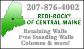 We are proud to be the areas authorized manufacturer of Redi-Rock� large block retaining walls, free-standing walls, columns and pavers. We offer the complete line of Redi-Rock� products, and we deliver anywhere. Blocks are available in split limestone and cobblestone faces and can be colored.