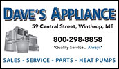 Dave's Appliance is a locally owned Maine Business. We specialize in appliance sales and service. Great selection and factory direct pricing guarantees value for customer.