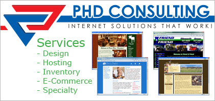 PHD Consulting - We are experts in e-commerce solutions and dynamic content management, web site design and web page design.