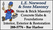 L.E. Norwood & Sons has been offering top quality masonry & concrete products and services to the Down East region of Maine for over 60 years.
